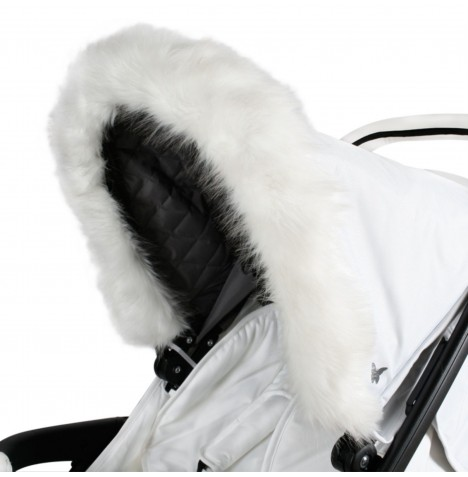 My Babiie Pram Hood (Faux) Fur Trim - White