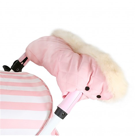 My Babiie Fur Trimmed Pushchair Handmuff - Baby Pink