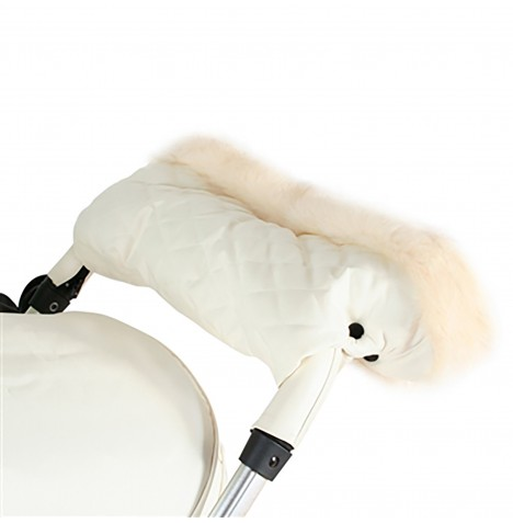 My Babiie Fur Trimmed Pushchair Handmuff - Cream