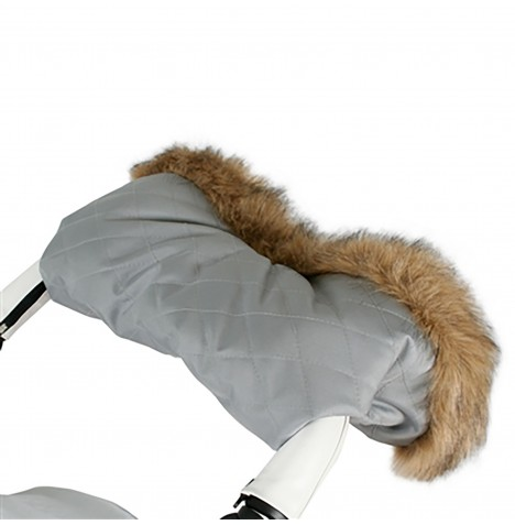 My Babiie Fur Trimmed Pushchair Handmuff - Grey