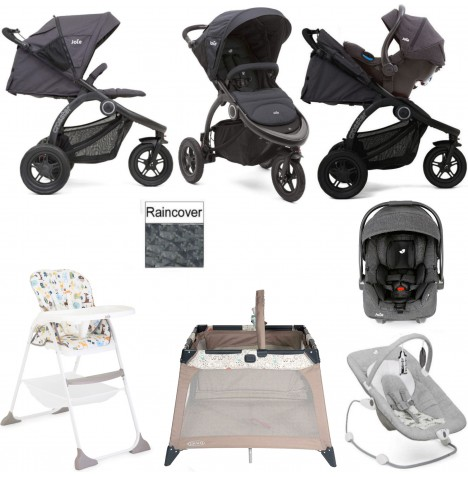 Joie Crosster Everything You Need I-Gemm Travel System Bundle - Asphalt