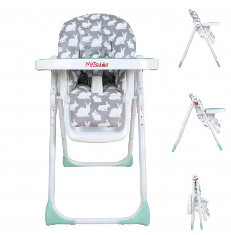 My Babiie MBHC8 Premium Highchair - Grey Rabbits