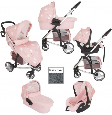 My Babiie MB200+ Travel System & Carrycot - Pink Stars