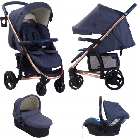 My Babiie MB200+ *Billie Faiers Collection* Travel System & Carrycot - Rose Gold & Navy