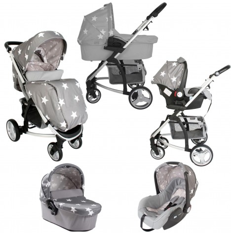 My Babiie MB200+ *Billie Faiers Collection* Travel System & Carrycot - Grey Stars