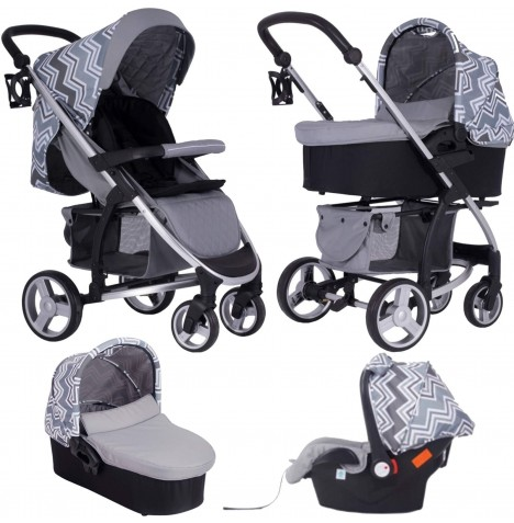 My Babiie MB200+ *Sam Faiers Collection* Travel System & Carrycot - Charcoal Chevron