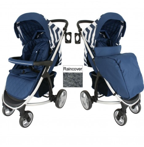 My Babiie MB200 Pushchair - Blue Chevron