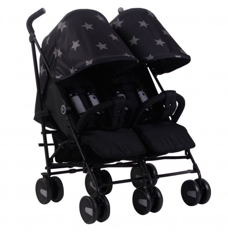 My Babiie MB22 Twin Stroller - Black Stars