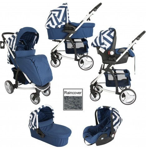 My Babiie MB200+ Travel System & Carrycot - Blue Chevron..