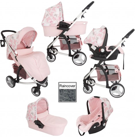 My Babiie MB200+ *Katie Piper Collection* Travel System & Carrycot - Pink Butterflies..