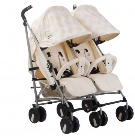 My Babiie MB22 Twin Stroller *Billie Faiers Collection* - Cream Chevron