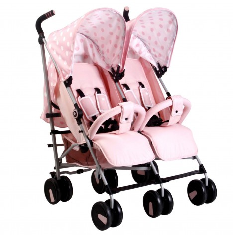 My Babiie MB22 Twin Stroller - Pink Polka