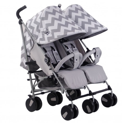 My Babiie MB22 Twin Stroller *Billie Faiers Collection* - Grey Chevron