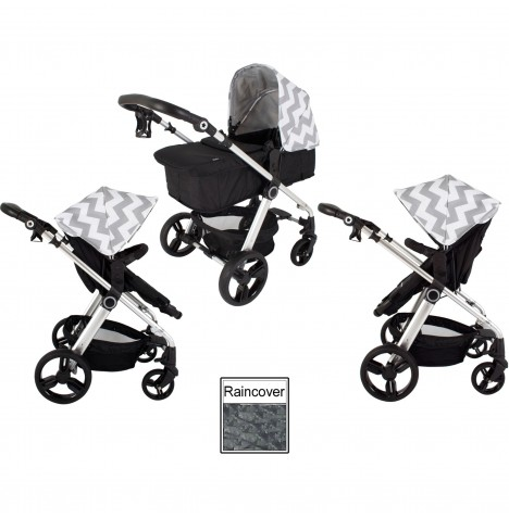 My Babiie MB150 2in1 Pram / Pushchair - Grey Chevron