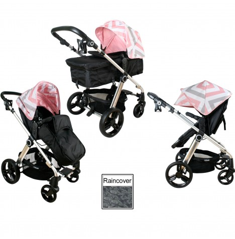My Babiie MB150 2in1 Pram / Pushchair - Pink Chevron