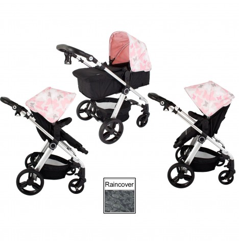 My Babiie MB150 2in1 Pram / Pushchair *Katie Piper Collection* - Pink Butterflies