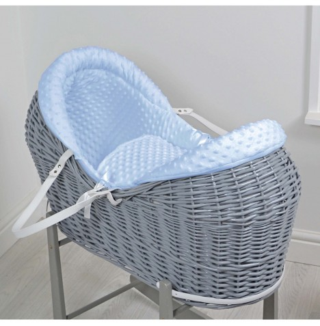 4baby Grey Wicker Deluxe Rollover Snooze Pod - Blue Dimple