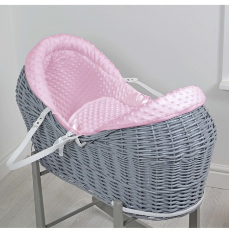 4baby Grey Wicker Deluxe Rollover Snooze Pod - Pink Dimple