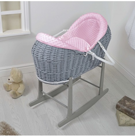 4baby Grey Wicker Deluxe Rollover Snooze Pod & Rocking Stand - Pink Dimple