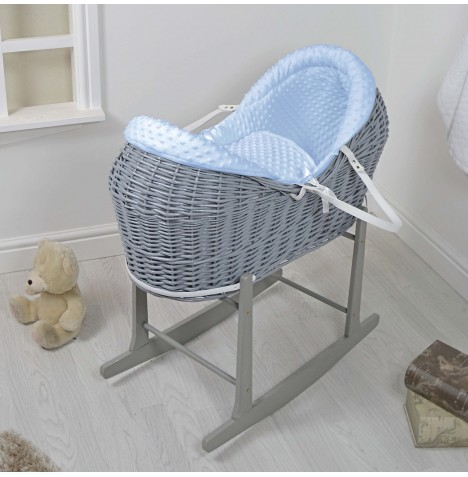 4baby Grey Wicker Deluxe Rollover Snooze Pod & Rocking Stand - Blue Dimple