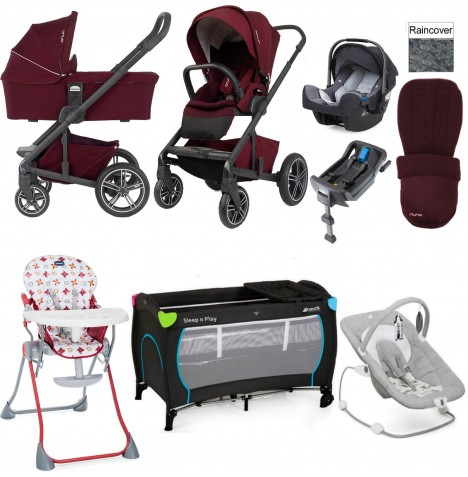 Nuna/Joie Mixx Everything You Need Travel System (With Isofix Base) Bundle - Berry