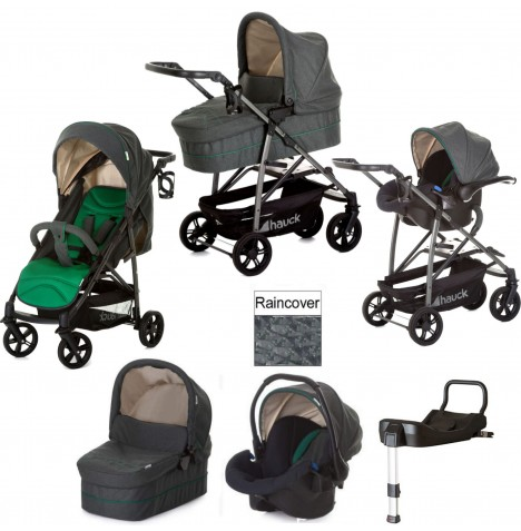Hauck Rapid 4S Plus Trio Set Travel System & Isofix Base - Caviar / Emerald