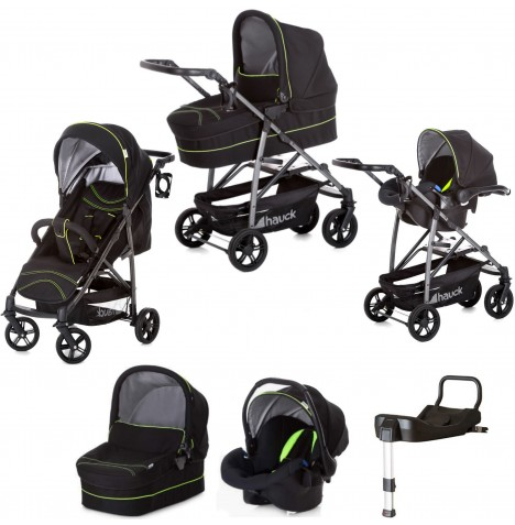 Hauck Rapid 4S Plus Trio Set Travel System & Isofix Base - Caviar / Neon