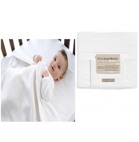 Little Bamboo 3 Piece Cot / Cotbed Sheet Set - Natural White