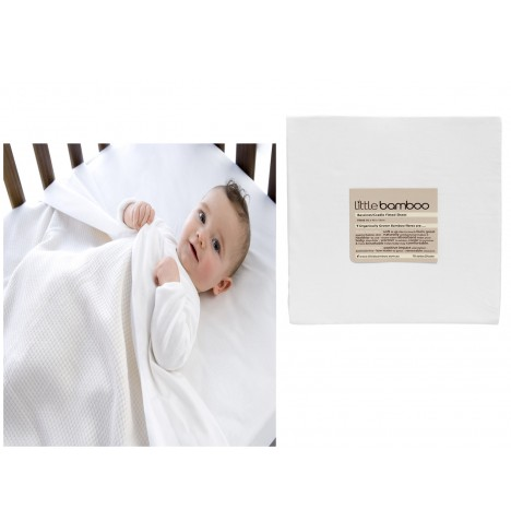 Little Bamboo Crib / Pram / Moses Fitted Sheet - Natural White