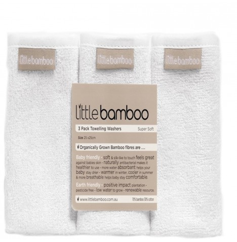 Little Bamboo Towelling Washers 3 Pack - Natural White