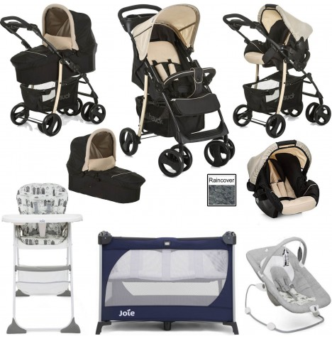 Hauck / Joie Shopper SLX Everything You Need Trio Set Travel System Bundle - Caviar / Beige