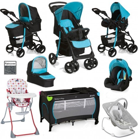 Hauck / Joie Shopper SLX Everything You Need Trio Set Travel System Bundle - Caviar / Aqua