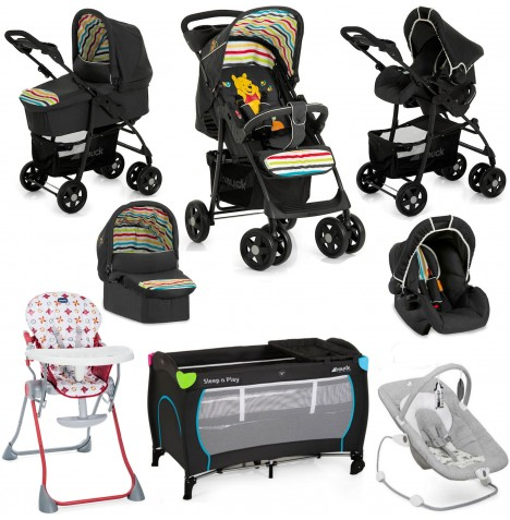 Hauck / Joie Shopper SLX Everything You Need Trio Set Travel System Bundle - Pooh Tidy Time