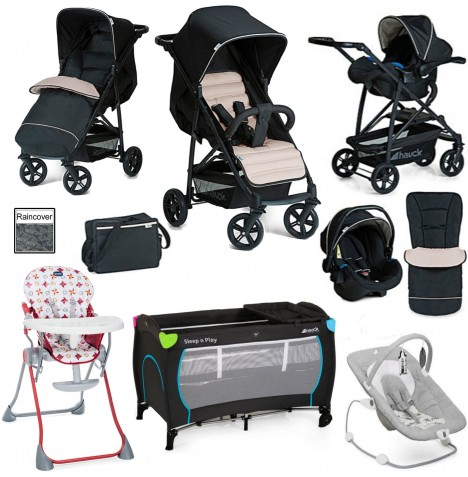 Hauck / Joie Rapid 4 Everything You Need Shop n Drive Travel System Bundle - Caviar / Beige