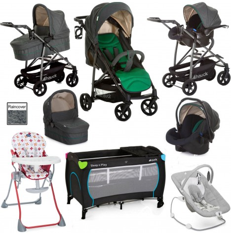 Hauck / Joie Rapid 4S Everything You Need Trio Set Travel System Bundle - Caviar / Emerald