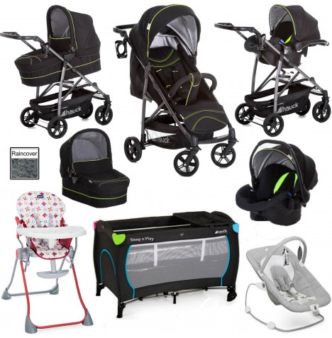 Hauck / Joie Rapid 4S Everything You Need Trio Set Travel System Bundle - Caviar / Neon