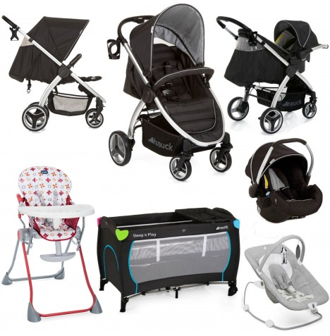 Hauck / Joie Lift Up 4 Everything You Need Shop n Drive Travel System Bundle - Black