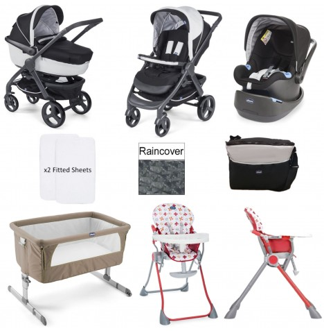 Chicco Trio StyleGo / Pocket Meal Everything You Need 10 Piece Travel System Bundle - Dove Grey