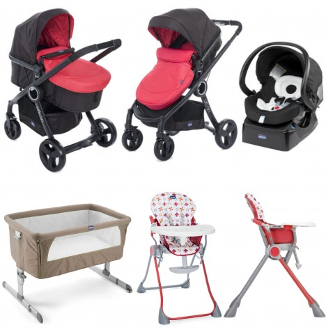 Chicco Urban Plus / Pocket Meal Everything You Need Travel System Bundle - Red Passion..