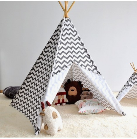 4baby Large Kids Teepee / Baby Play Tent - Chevron Grey..