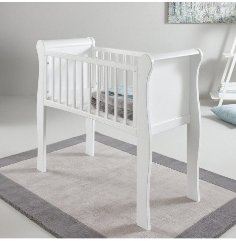 Little Acorns Sleigh Crib & Foam Mattress - White