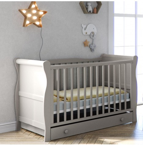 Little Acorns Sleigh Cot Bed With Deluxe Foam Mattress & Drawer - Grey