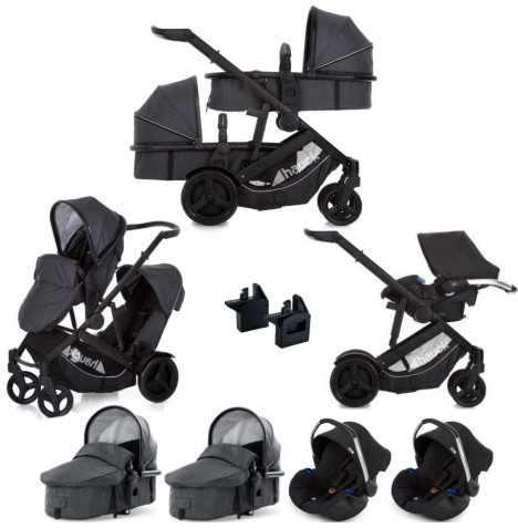 Hauck Duett 3 Tandem Travel System (x2 Carrycots, x2 Car Seats) - Melange Charcoal
