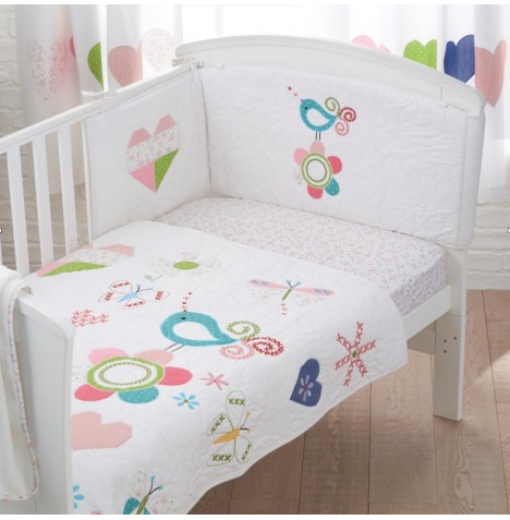 4Baby Designer 3 Piece Cot Bed Bedding Set - Doodles