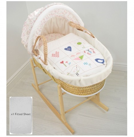 4Baby Deluxe Padded Palm Moses Basket & Rocking Stand - Doodles