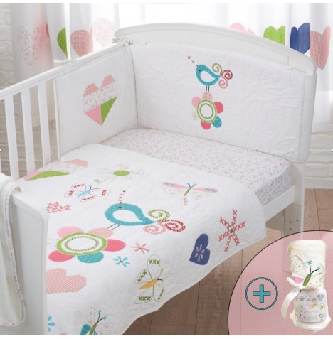 4Baby 4 Piece Cot Bed Bedding Set - Doodles