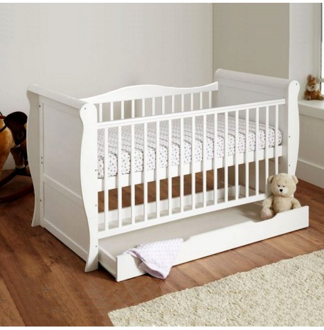 4Baby 3 in 1 Sleigh Cot With Drawer & Foam Mattress - White..