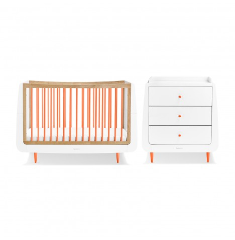 Snuz SnuzKot Skandi 3 Piece Nursery Furniture Room Set - Orange