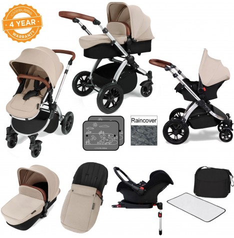 Ickle bubba Stomp V3 Silver All In One Travel System & Isofix Base - Sand