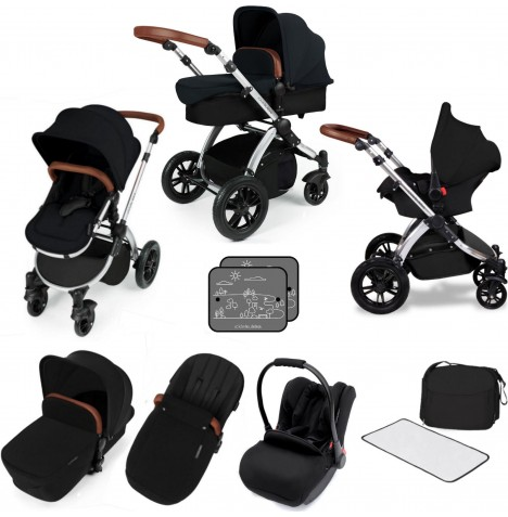 Ickle bubba Stomp V3 Silver All In One Travel System - Black